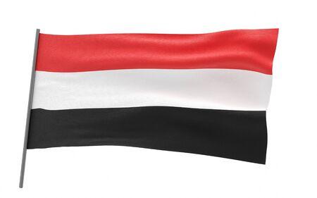 Illustration of a waving flag of yemen. 3d rendering. Stock fotó