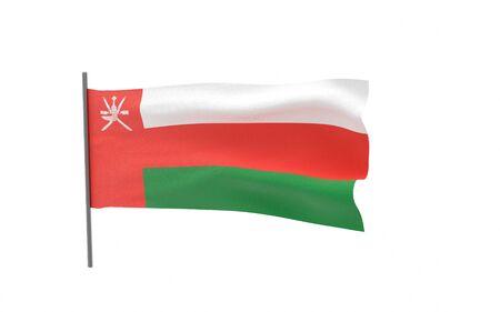 Illustration of a waving flag of Oman. 3d rendering. Stock fotó
