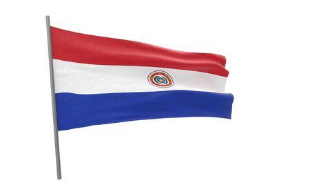 Illustration of a waving flag of Paraguay. 3d rendering. Stock fotó