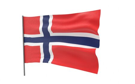 Illustration of a waving flag of Norway. 3d rendering. Stock fotó
