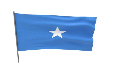 Illustration of a waving flag of Somalia. 3d rendering.