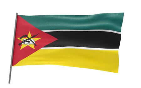 Illustration of a waving flag of Mozambique. 3d rendering.