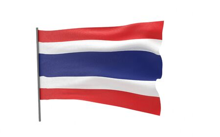 Illustration of a waving flag of Thailand. The Kingdom of Thailand. 3d rendering. Stock fotó