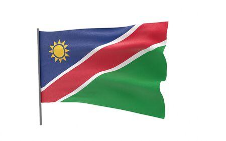 Illustration of a waving flag of Namibia. 3d rendering. Stock fotó