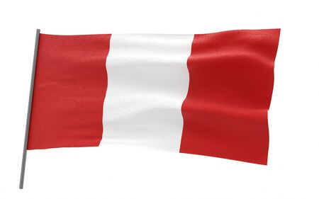 Illustration of a waving flag of Peru. 3d rendering.