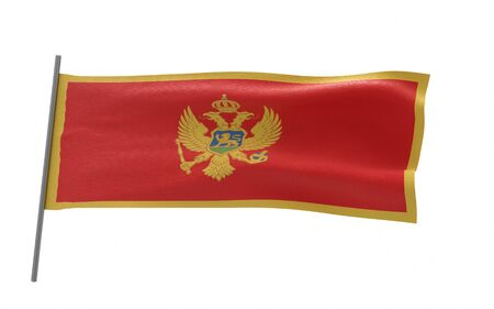 Illustration of a waving flag of Montenegro. 3d rendering. Stock fotó