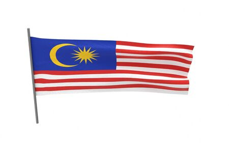 Illustration of a waving flag of Malaysia. 3d rendering.