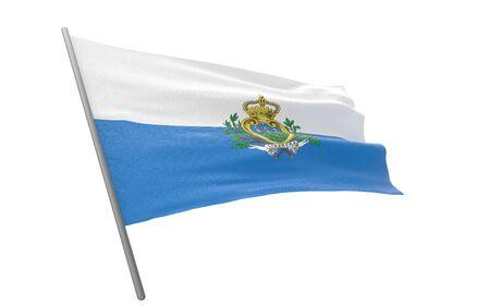 Illustration of a waving flag of San Marino. 3d rendering.
