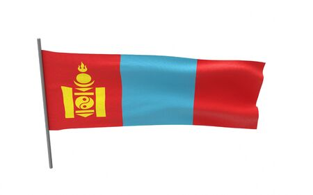 Illustration of a waving flag of Mongolia. 3d rendering. Stock fotó