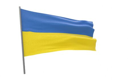 Illustration of a waving flag of Ukraine. 3d rendering. Stock fotó