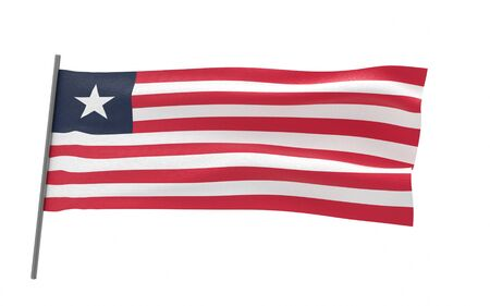 Illustration of a waving flag of Liberia. 3d rendering.