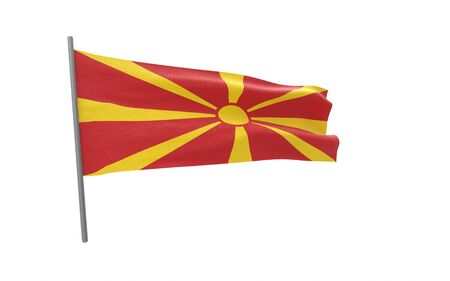 Illustration of a waving flag of Macedonia. 3d rendering.