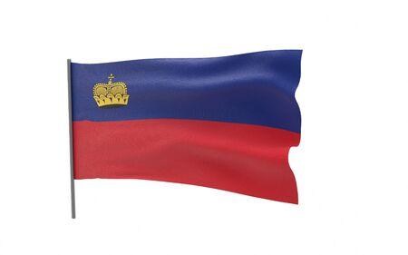 Illustration of a waving flag of Liechtenstein. 3d rendering. Stock fotó