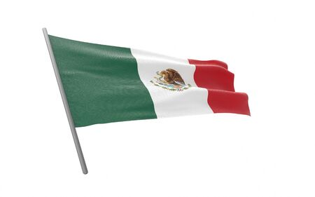Illustration of a waving flag of Mexico. 3d rendering.