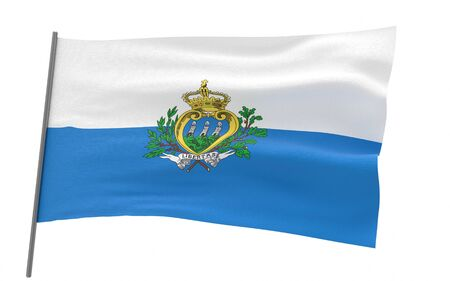 Illustration of a waving flag of San Marino. 3d rendering.