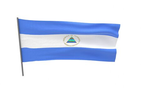 Illustration of a waving flag of Nicaragua. 3d rendering.