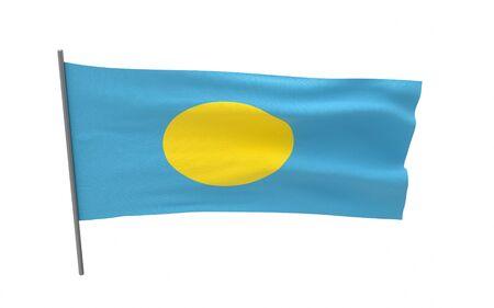 Illustration of a waving flag of Palau. 3d rendering.