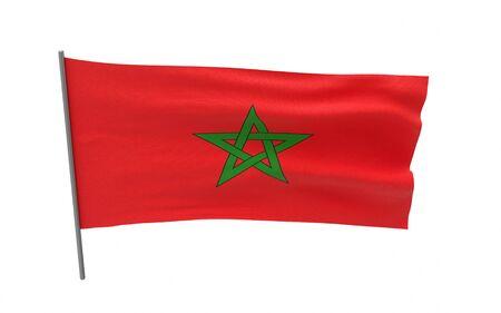 Illustration of a waving flag of Morocco. 3d rendering. Stock fotó