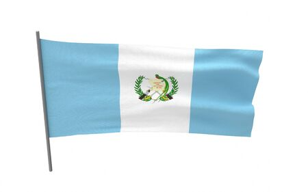 Illustration of a waving flag of Guatemala. 3d rendering. Stock fotó