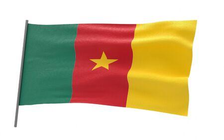 Illustration of a waving flag of Cameroon Stock fotó