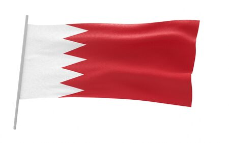 Illustration of a waving flag of Bahrain