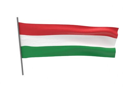 Illustration of a waving flag of Hungary. 3d rendering.