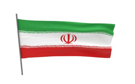 Illustration of a waving flag of Iran. 3d rendering.