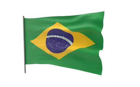 Illustration of a waving flag of Brazil