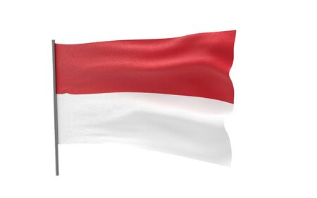 Illustration of a waving flag of Indonesia. 3d rendering.