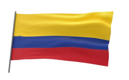 Illustration of a waving flag of Colombia