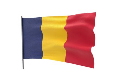 Illustration of a waving flag of Chad