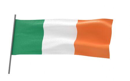 Illustration of a waving flag of Ireland. 3d rendering.