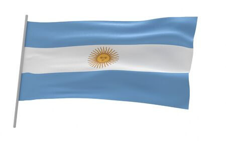 Illustration of a waving flag of Argentina Foto de archivo