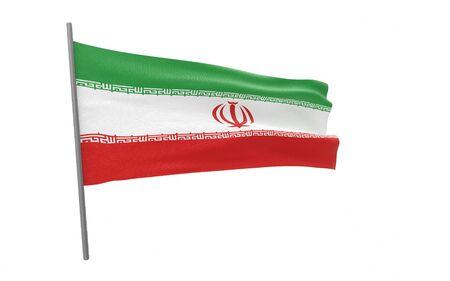 Illustration of a waving flag of Iran. 3d rendering.