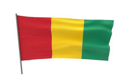 Illustration of a waving flag of Guinea. 3d rendering.