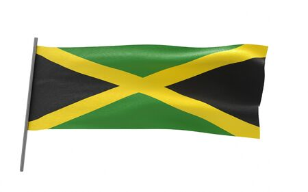 Illustration of a waving flag of Jamaica. 3d rendering.