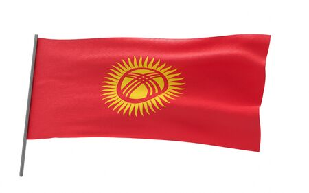 Illustration of a waving flag of Kyrgyzstan. 3d rendering.