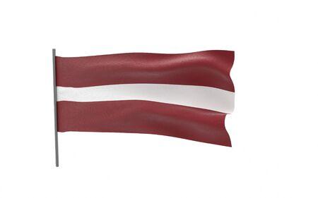 Illustration of a waving flag of Latvia. 3d rendering.