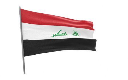 Illustration of a waving flag of Iraq. 3d rendering. Stock fotó