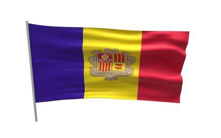 Illustration of a waving flag of Andorra