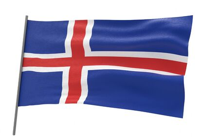 Illustration of a waving flag of Iceland. 3d rendering.