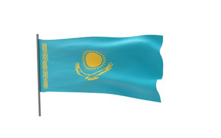 Illustration of a waving flag of Kazakhstan. 3d rendering.