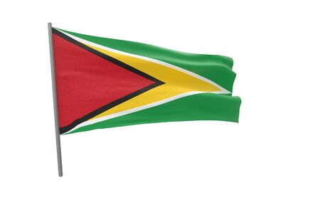 Illustration of a waving flag of Guyana. Cooperative Republic of Guyana. 3d rendering.