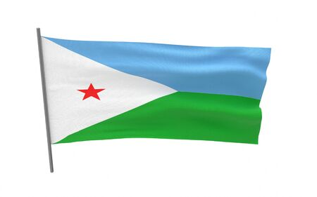 Illustration of a waving flag of Djibouti. 3d rendering.