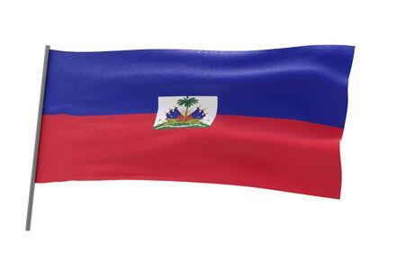 Illustration of a waving flag of Haiti. 3d rendering.