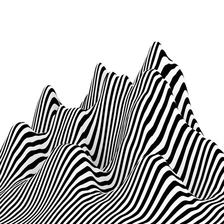 Abstract black and white lines in different patterns. Used for materials or graphic source. 3d rendering - illustration.