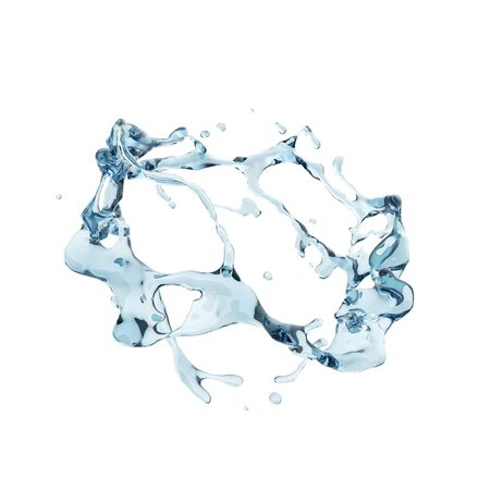 Blue pure water splash isolated in white background. Used for graphic resource. 3d rendering - illustration. Banco de Imagens - 128578804
