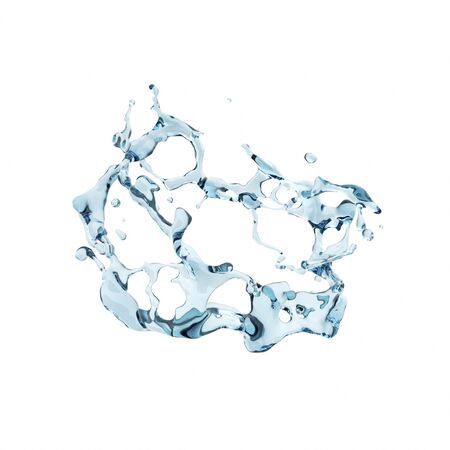 Blue pure water splash isolated in white background. Used for graphic resource. 3d rendering - illustration. Banco de Imagens