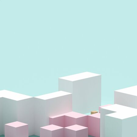 Abstract squares in blue background. Design pattern. minimal minimalism. 3d rendering - illustration. Banco de Imagens