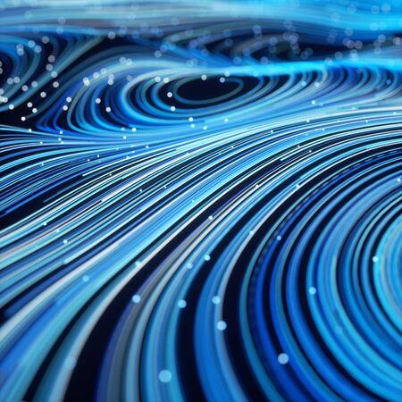 Fibra óptica de remolino de vórtice. Mover líneas de colores de fondo abstracto. Representación 3d - ilustración. Foto de archivo
